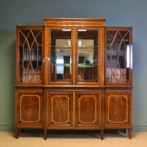 Spectacular Figured Mahogany Inlaid Edwardian Antique Display Cabinet