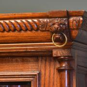 Unusual French Oak Glazed Victorian Antique Bookcase