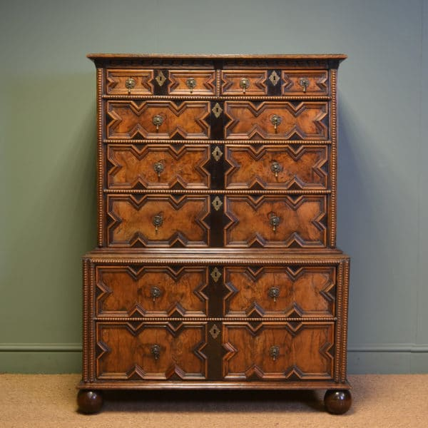 Unusual 17th Century Walnut Antique Chest On Chest