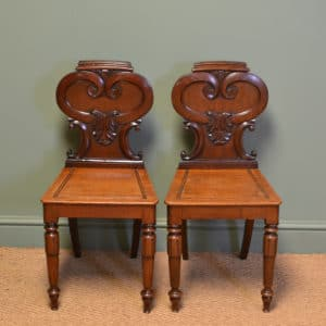 Quality Victorian Mahogany Decorative Antique Pair Of Hall Chairs