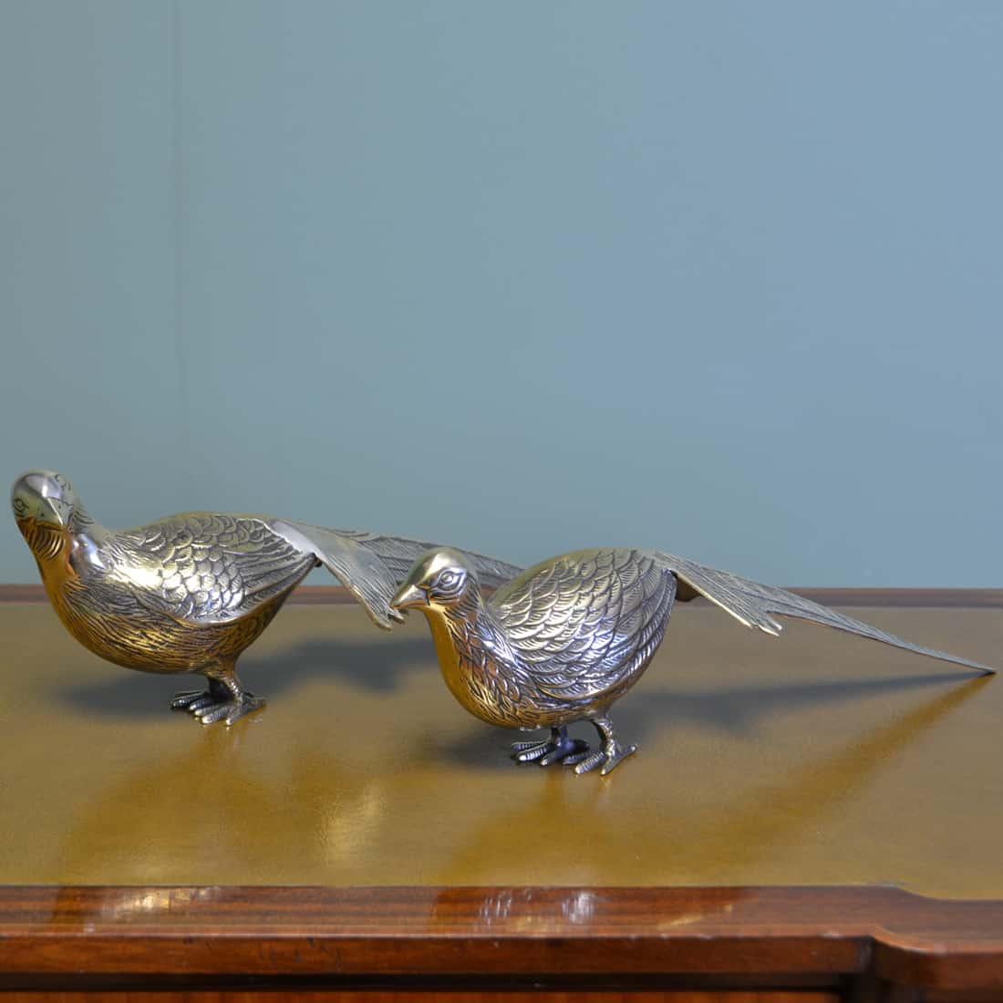 Pair of Vintage Stunning Brass Pheasant Figurines.