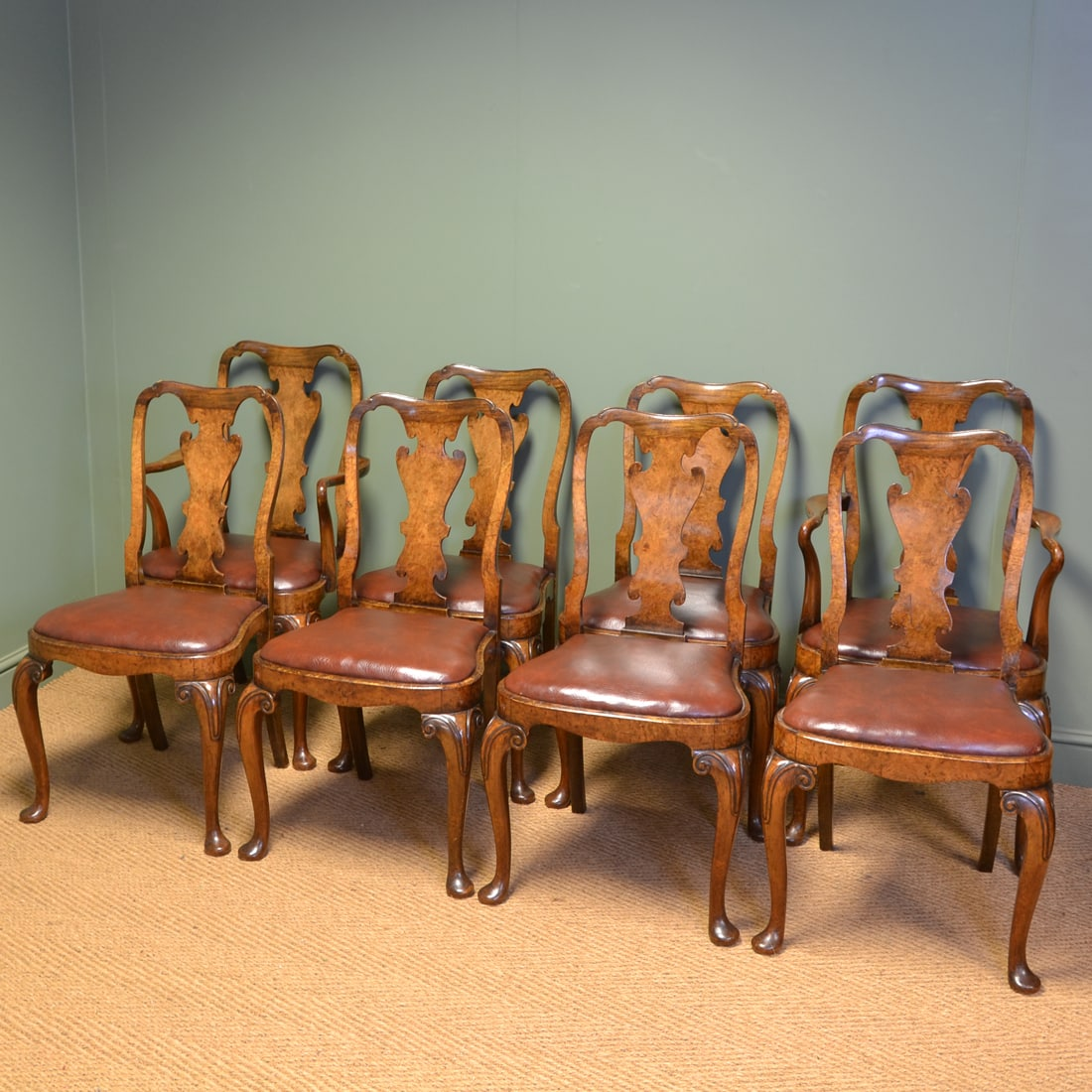 Fine Set of Eight Walnut Queen Anne Design Antique Edwardian Dining Chairs