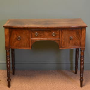 Unusual Figured Mahogany Bow Fronted Antique Victorian Side / Writing Table