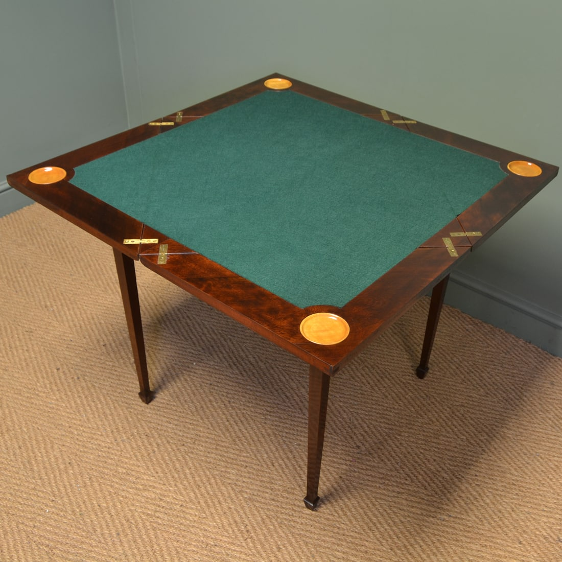 Spectacular Large Inlaid Envelope Mahogany Antique Card / Games Table.