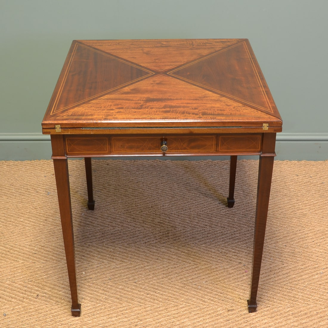 Large Inlaid Envelope Mahogany Antique Card / Games Table.