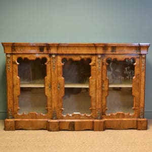 Spectacular Figured Walnut Victorian Break Fronted Antique Credenza
