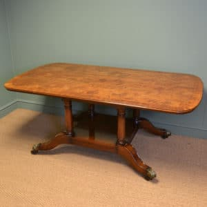 Spectacular Large Edwardian Figured Mahogany Antique Dining Table