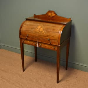Fine Edwardian Inlaid Mahogany Antique Cylinder Desk