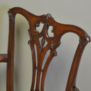 Pair of Edwardian Walnut Antique Chippendale Design Carver Arm Chairs