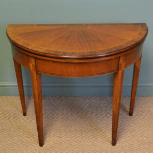 Striking Demi Lune Walnut Antique Victorian Segmented Top Games / Console Table