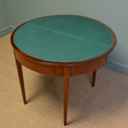 Striking Demi Lune Walnut Antique Victorian Segmented Top Games / Console Table