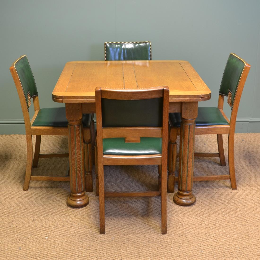 Spectacular Heals Style Art Deco Oak Antique Dining Set