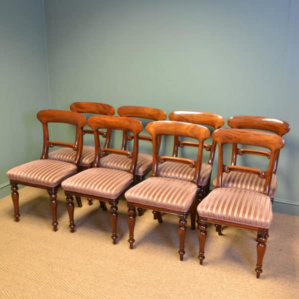Stunning Set of Eight Victorian Mahogany Antique Dining Chairs