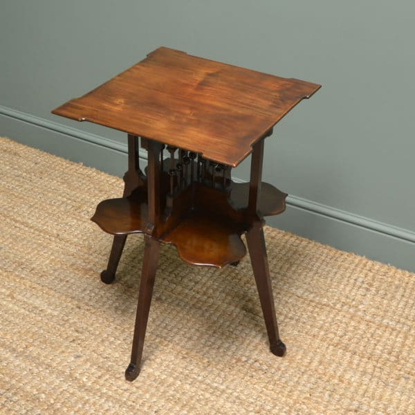 Stunning Art Nouveau Edwardian Walnut Antique Occasional Table / Book Stand