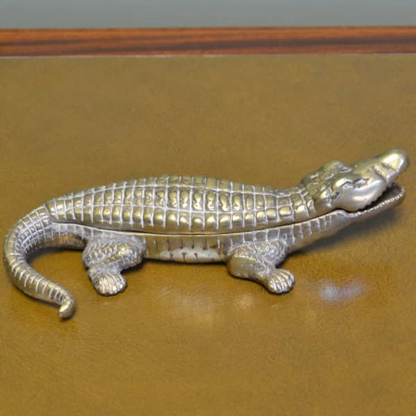 Rare Art Deco antique brass Crocodile Linton cigarette & matches box / Paper Weight.
