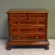 Unusual Victorian Queen Anne Design Small Walnut Apprentice Chest / Jewellery Box