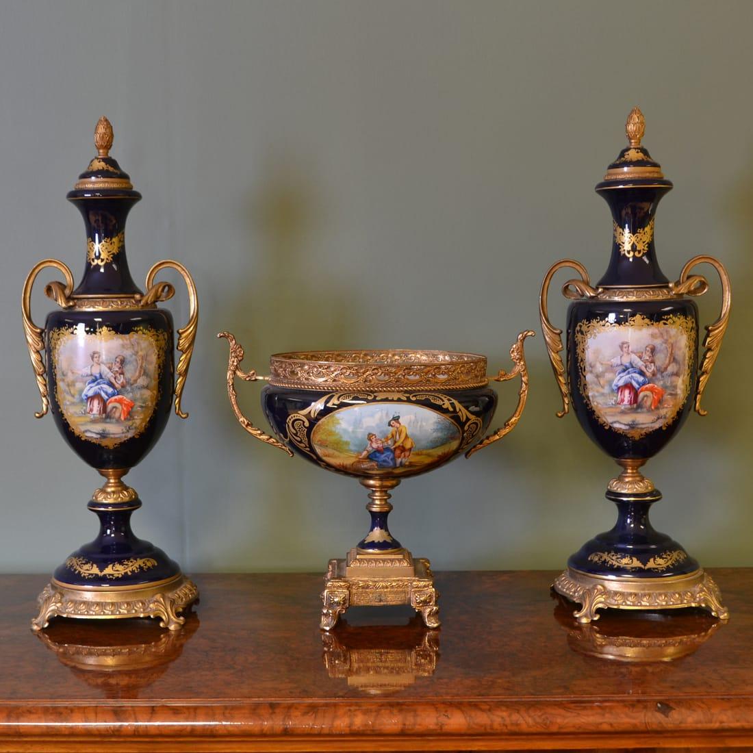 Unusual Three Piece Antique Porcelain Mantle piece Set