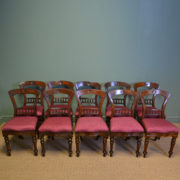 Set of Ten Victorian Mahogany Antique Dining Chairs