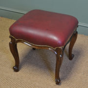 Quality French Walnut Antique Leather Stool