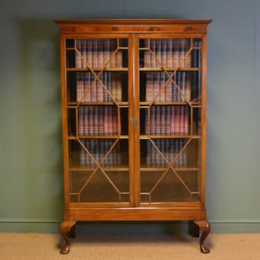 Large Quality Victorian Walnut Astragal Glazed Antique Bookcase