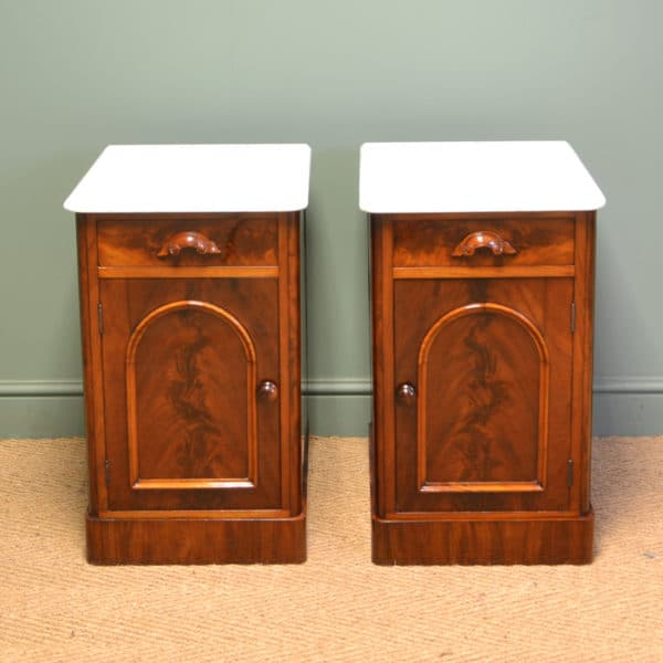 Unusual Quality Victorian Mahogany Antique Pair of Bedside Cabinets