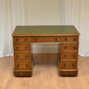 High Quality Small Victorian Oak Crossbanded Antique Pedestal Desk