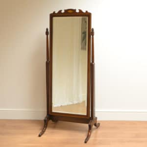Elegant Edwardian Inlaid Antique Cheval Mirror