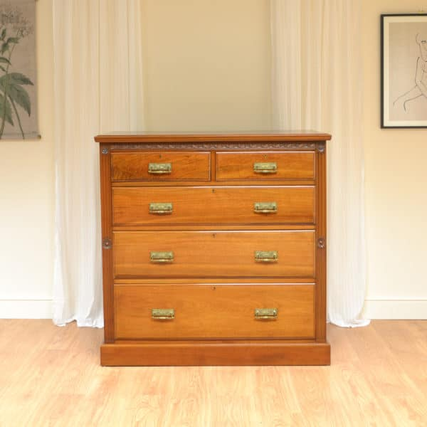 Magnificent Quality Shoolbred Walnut Victorian Arts And Crafts Chest Of Drawers