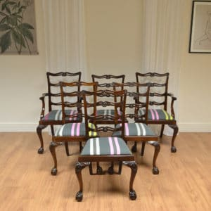Set Of Six Chippendale Design Walnut Warring And Gillows Antique Dining Chairs
