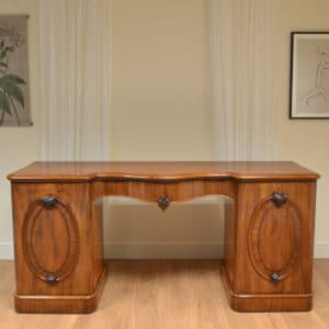 Spectacular Serpentine Fronted Antique Victorian Pedestal Sideboard