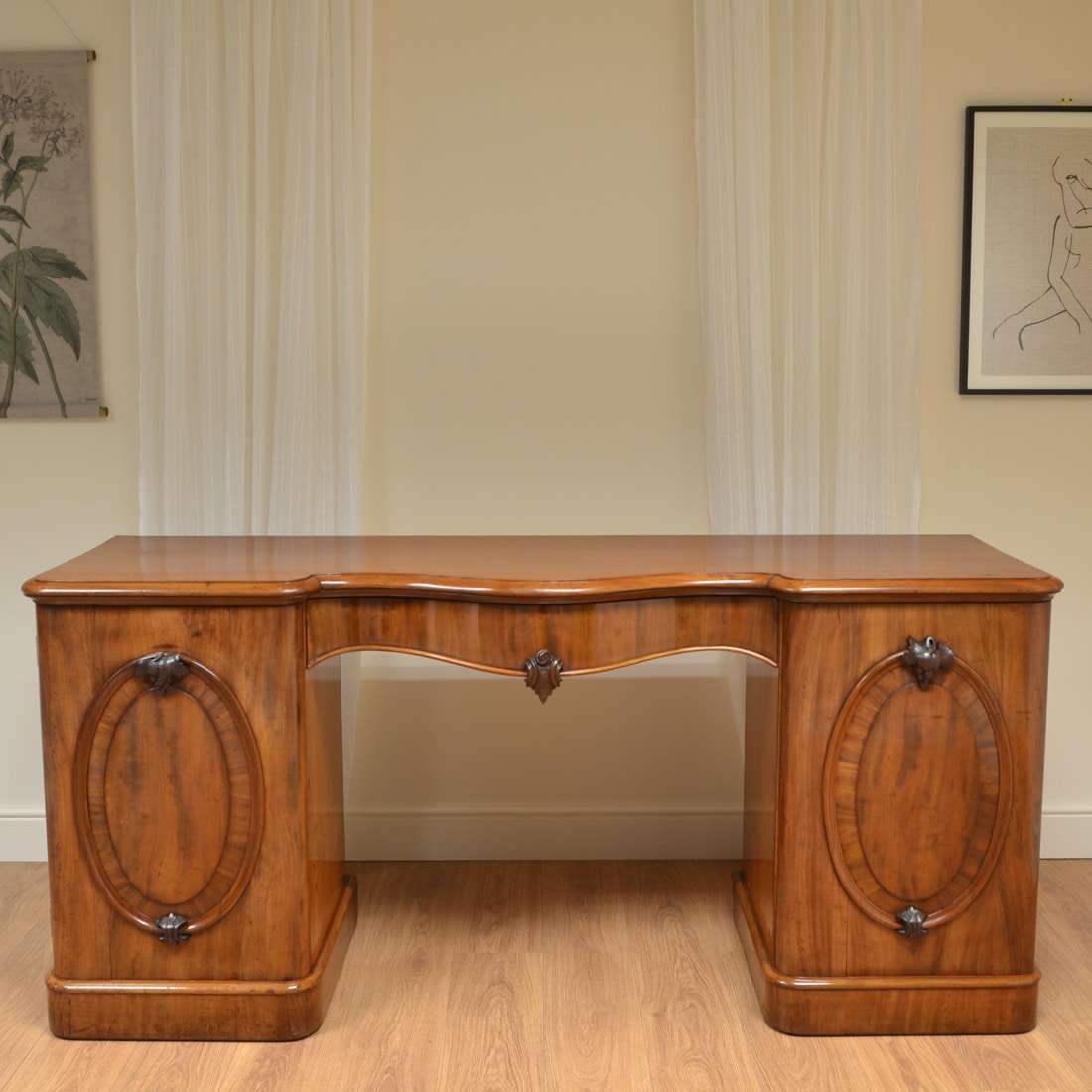 Antiques Cabinets & Cupboards Impressive Victorian Serpentine Top Sideboard.
