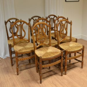 Unusual Set of 8 French Antique Oak Chairs