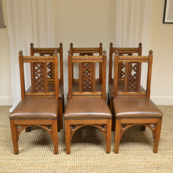 Rare Set Of Six Pugin Design Victorian Golden Oak Antique Dining Chairs
