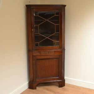 Georgian Mahogany Antique Floor Standing Corner Cabinet
