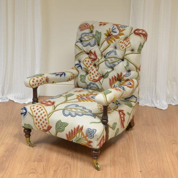 Quality Upholstered Antique Victorian Low Arm Chair