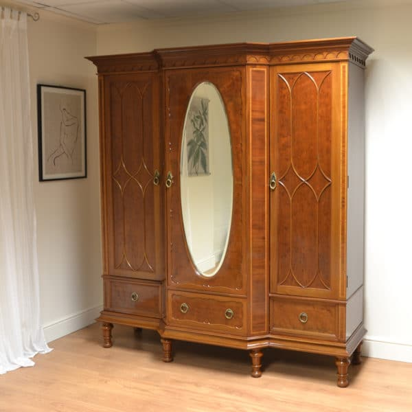 Spectacular Victorian Plum Pudding Mahogany Antique Triple Wardrobe