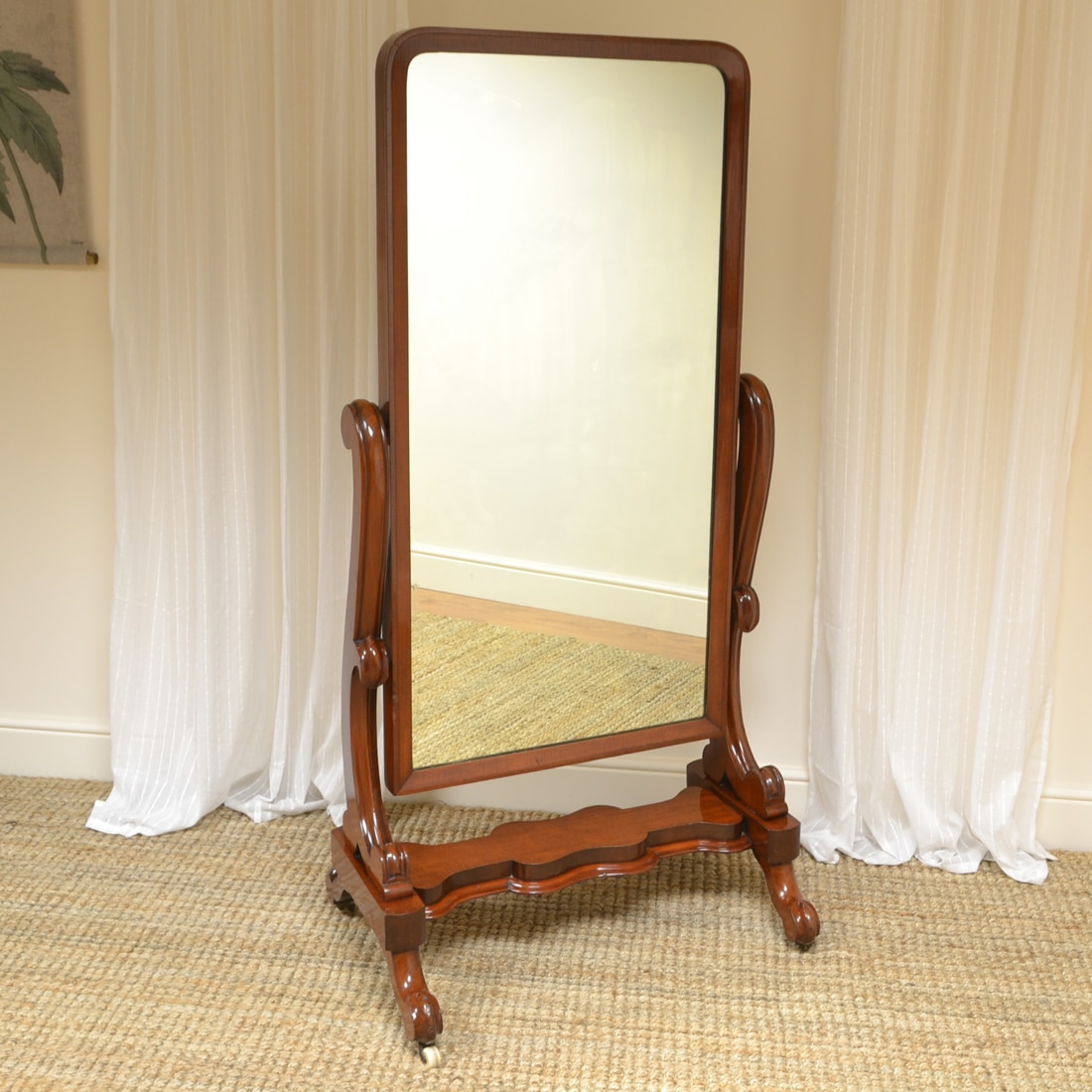 Fine Quality Victorian Mahogany Antique Cheval Mirror