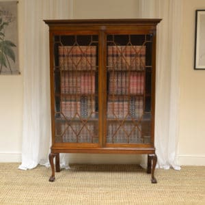 Fine Quality Edwardian Mahogany Antique Bookcase / Display Cabinet