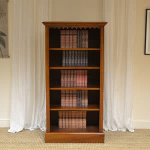 Tall Slim Victorian Mahogany Antique Open Bookcase