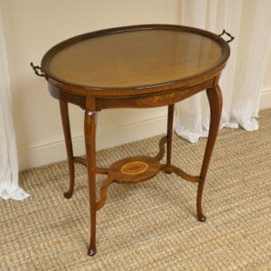 Unusual Inlaid Edwardian Mahogany Tray Topped Occasional Table