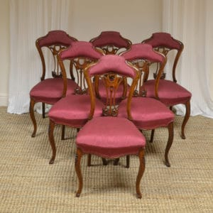 Unusual Set of Six Victorian Walnut Art Nouveau Dining Chairs