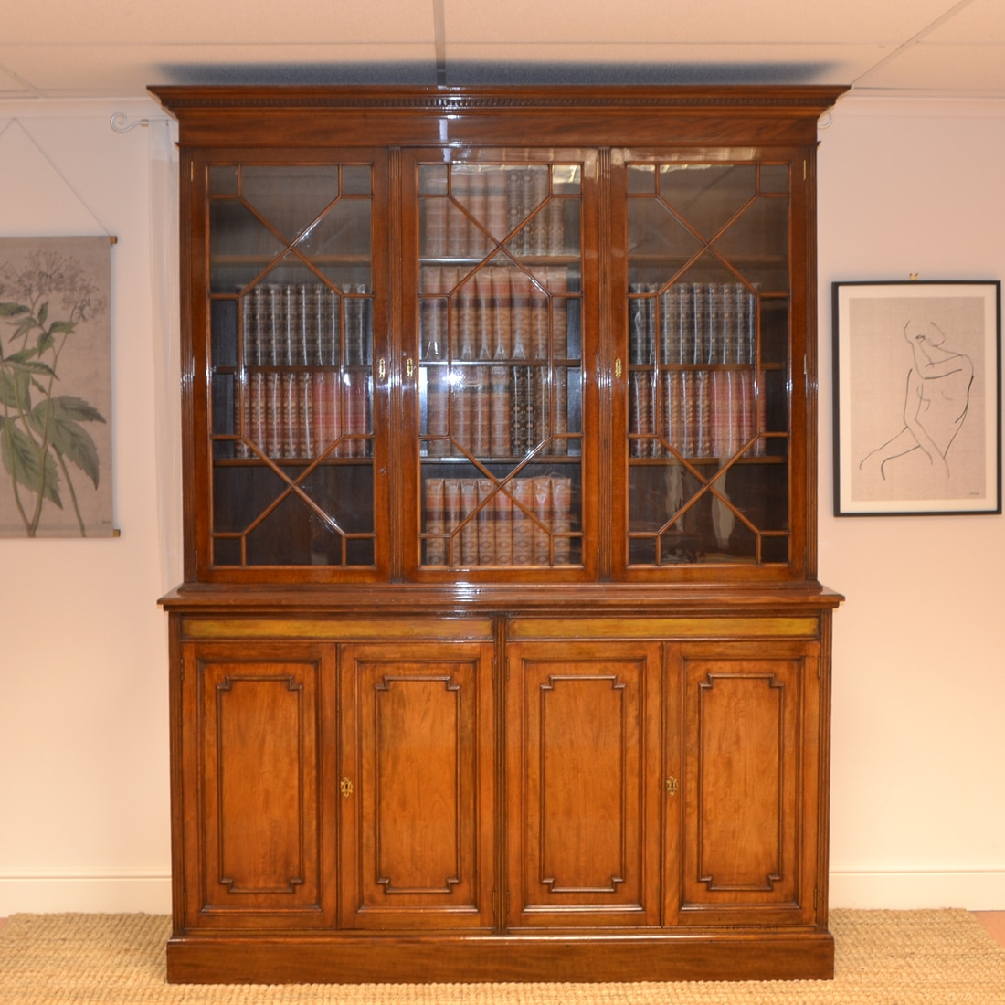 S & H Jewell Large Victorian Mahogany Antique Library Bookcase