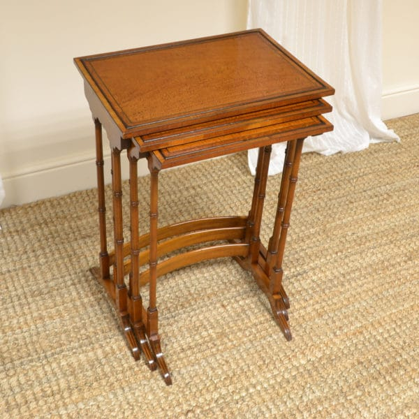 Unusual High Quality Antique Satinwood Nest of Three Tables