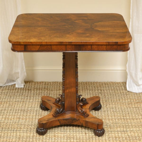 Rare Decorative Victorian Rosewood Antique Pedestal Side Table / Occasional Table