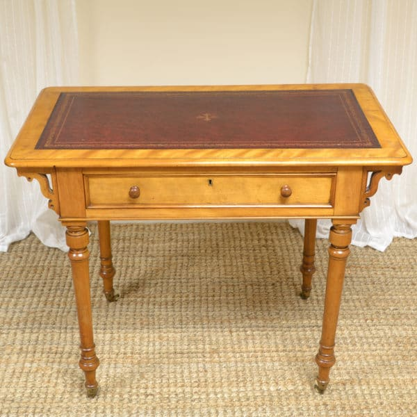 Unusual Victorian Satin Birch Antique Writing Table