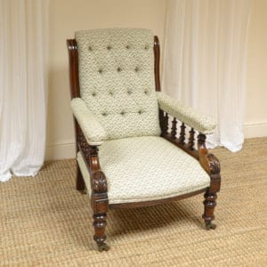 Unusual Victorian Antique Library Armchair
