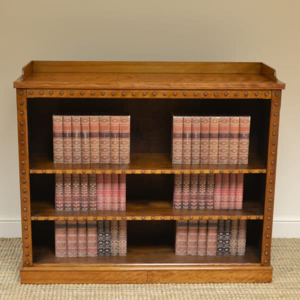 Unusual Large Satin Birch Victorian Antique Open Bookcase