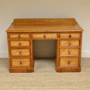 Unusual Satin Birch Victorian Antique Pedestal Desk