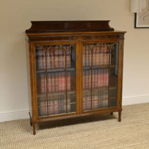 Spectacular Edwardian Inlaid Mahogany Antique Bookcase