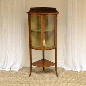 Small Elegant Glazed Edwardian Inlaid Mahogany Antique Corner Cabinet